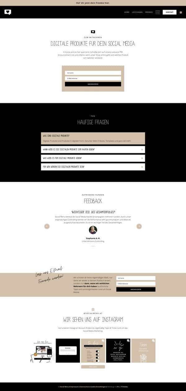 717media Portfolio: Social Menu Shop